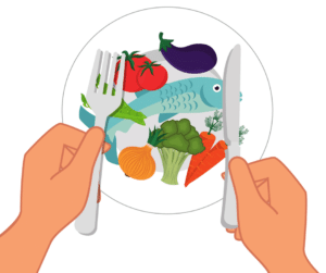 bei Arthrose empfehlenswerte Nahrungsmittel auf einem Teller